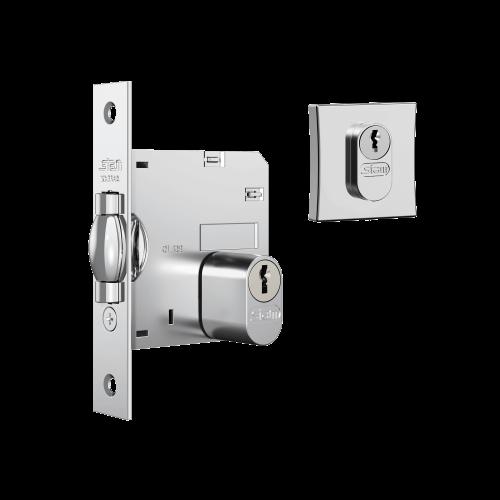 Fechadura 1005 chave simples quadrada cromada auxiliar STAM