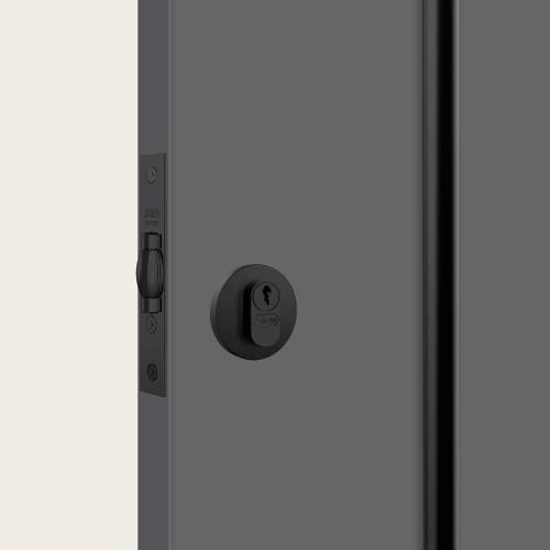 Fechadura 1005 chave simples redonda black auxiliar STAM
