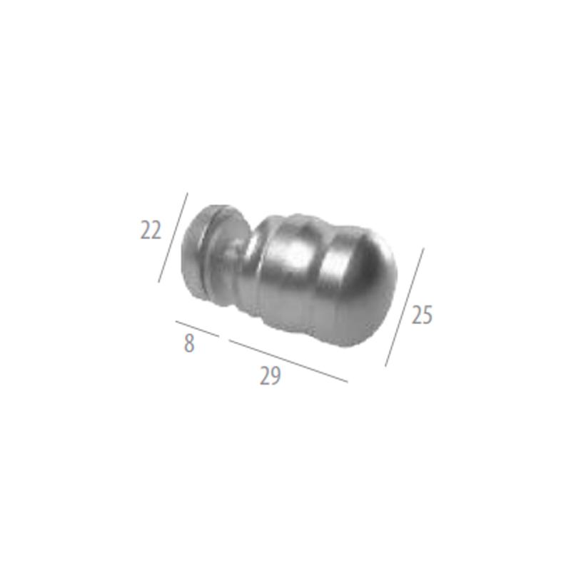 1629jbal-bc Puxador para Box 25mm Meia Taça