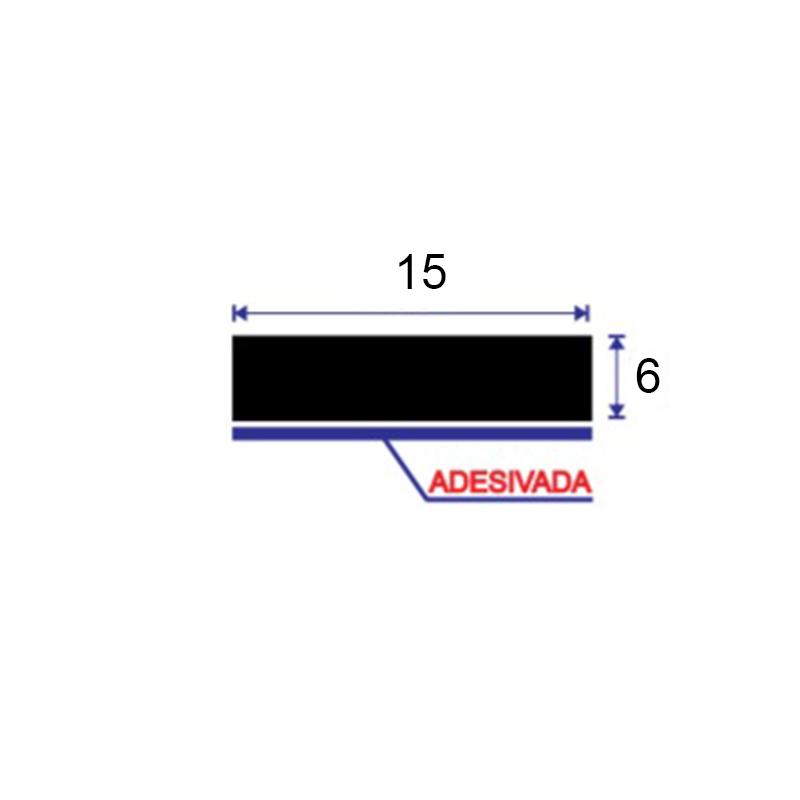 GUA-615 ESPUMA GUARNICAO ADESIVA RIGIDA DE PVC 15X6 PRETA 10 mts