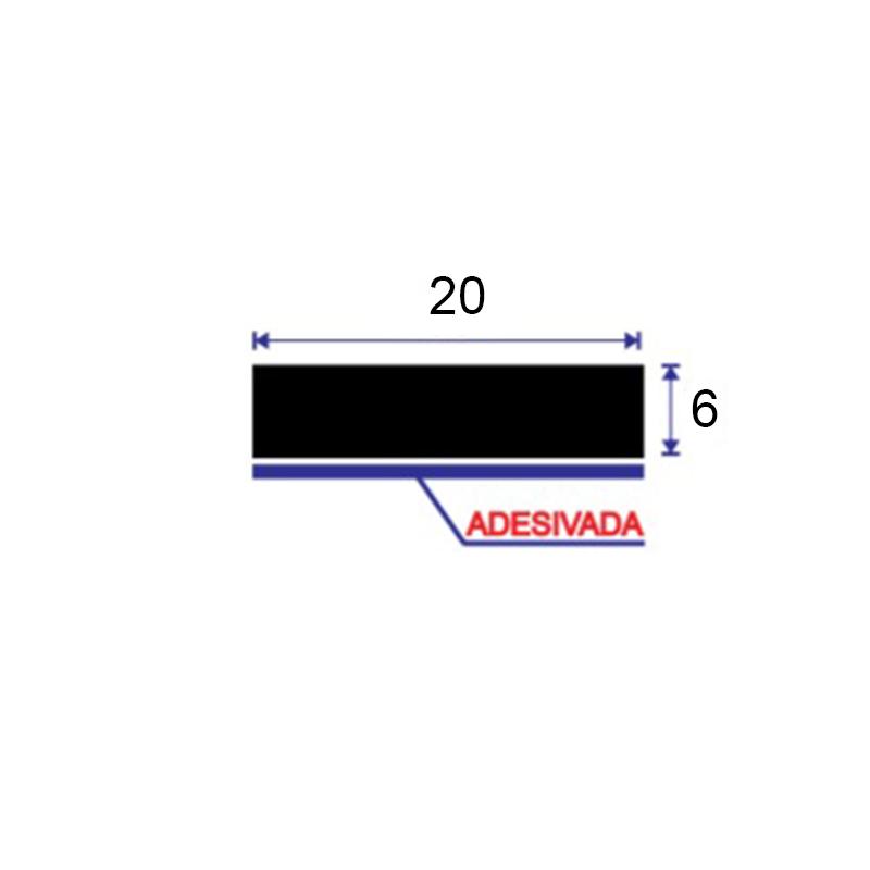 GUA-620 ESPUMA GUARNICAO ADESIVA RIGIDA DE PVC 20X6 PRETA 10 mts