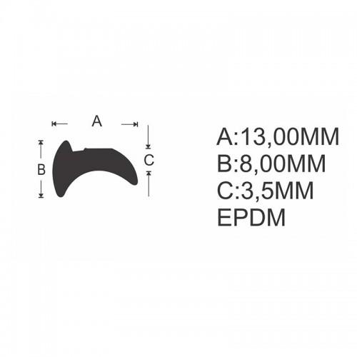 Gua-051 F ou G  guarnição p/ vidro 8mm
